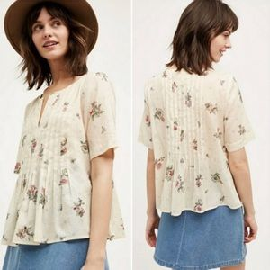 Anthropologie Maeve Orchid Floral Polka Dot Blouse